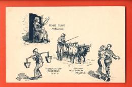 EAP-15 Femme Filant Robasacco Porteur Lait Roveredo Attelage Mesocco. Militaire. Tessin 1916-17. Dessin De Brélaz - TI Ticino