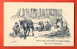 EAP-22  Militaires. Halte Dans Une Forêt De Châtaigniers,Artillerie De Montagne.Mulets. Tessin 1916-17. Dessin De Brélaz - TI Ticino