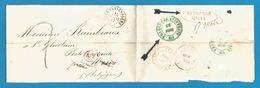 """(R183) Belgique - Précurseur - LSC De LES BATIGNOLLES (càd 15/3/1847) Vers ST GHISLAIN """"déboursé Mons"""" + Autres Cachets - 1830-1849 (Belgique Indépendante)"""