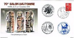 Nouvelle Caledonie Wallis Polynesie Sculpture Enveloppe Commemorative Club Cagou Cachet Commemoratif Salon Automne 2016 - Covers & Documents