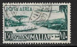 Somalia, Scott # C24 Used Plane Over Lake, Canoe, 1950 - Somalia