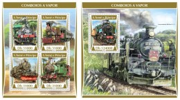 Z08 ST17308ab Sao Tome And Principe 2017 Steam Trains MNH ** Postfrisch Set - São Tomé Und Príncipe