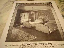 ANCIENNE AFFICHE  PUBLICITE AMEUBLEMENT DECO MERCIER FRERE 1928 - Habits & Linge D'époque