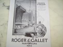ANCIENNE PUBLICITE PARFUM PAVOTS D ARGENT TENDRESSE  DE ROGER GALLET  1928 - Autres