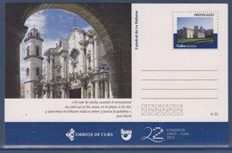 = Carte Postale Entier Cuba Texte José Marti Cathédrale La Havane 22è Congrès UPAEP Neuf - Cuba