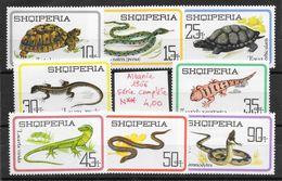 Reptile Lézard Couleuvre Gecko Orvet Tortue Vipère - Albanie N°907 à 914 1966 ** - Reptiles & Batraciens