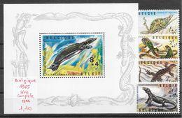 Reptile Lézard Caméléon Iguane Tortue Varan - Belgique N°1344 à 1347 + BF N°39 1965 ** - Reptiles & Batraciens