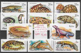 Reptile Caméléon Crocodile Grenouille Lézard Naja Python Tortue Varan - Guinée N°596 à 603, PA N°113 à 115 1977 ** - Non Classés