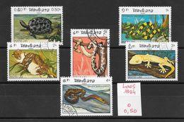 Reptile Gecko Python Tortue - Laos N°597 à 602 1984 O - Reptiles & Batraciens
