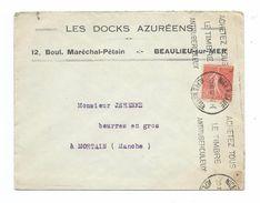 ENVELOPPE PUBLICITAIRE 1932.. LES DOCKS AZUREENS, Bd Maréchal Pétain à BEAULIEU Sur MER (06).. TIMBRE Beaulieu Sur Mer - France