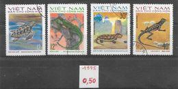 Reptile Lézard Tortue - Vietnam Du Nord N°875 à 879 (sauf 877) 1975 O - Reptiles & Batraciens