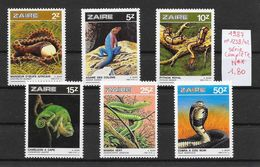 Reptile Lézard Serpent Python Caméléon Naja - Zaïre N°1238 à 1242 1987 ** - Reptiles & Batraciens