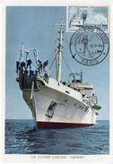 1960 - Carte Maximum - Navire Cablier AMPERE - Journée Du Timbre Paris - Tp N° 1245 - 1960-69