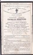 RHODE-STE-AGATHE Edouard Chevalier WOUTERS époux ROBERTI  46 Ans 1876 Burgemeester Député Doodsprentje DP - Obituary Notices
