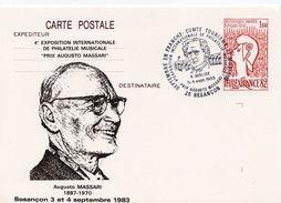 """1983 -Besançon -4e Expo. Internat. De Philatélie Musicale """"Prix Augusto Massari"""" -Obl Temp. Hector Berlioz (entier 2216 - Marcophilie (Lettres)"""