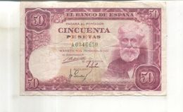 Billet El Banco De Espana, 50 Pesetas, 31 De Diciembre De 1951 - [ 3] 1936-1975 : Regency Of Franco