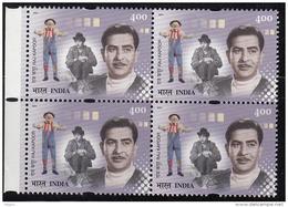 India MNH 2001, Block Of 4,  Raj Kapoor, Film Actor, Director, Cinema, Circus Joker, Mask, Costume, - Blocks & Kleinbögen