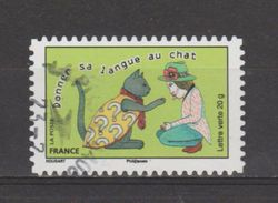"""FRANCE / 2015 / Y&T N° AA 1171 : """"Proverbes"""" (Donner Sa Langue Au Chat) - Choisi - Cachet Rond - Adhesive Stamps"""