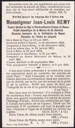 MEIX-LE-TIGE ETHE HOUFFALIZE Curé Doyen Chanoine De La Cathédrale De Namur Jean-Louis REMY 1827-1910 Souvenir Décès - Todesanzeige