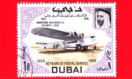 Nuovo - DUBAI - 1969 - 60 Anni Del Servizio Postale -  Navi E Aerei - Armstrong Whitworth 15 'Atlanta,' 1938 - 1 - Dubai