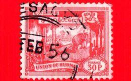 BURMA - Myanmar (Birmania)  - Usato - 1954 - Elefanti Al Lavoro - Valore Nella Nuova Valuta - 30 - Myanmar (Burma 1948-...)