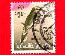 BURMA - Myanmar (Birmania)  - Usato -  1964 - Uccelli - Birds - Indian Roller (Coracias Benghalensis) - 15 - Myanmar (Burma 1948-...)