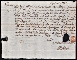 """1722 'South Sea Bubble' Letter From """"Chris.Dell"""" To Jane Deane At The Golden Ball, Agst The Theatre, Hay-Market"""".  0367 - Autographs"""