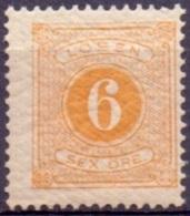 ZWEDEN 1877-82 6öre Portzegel Geel Tanding 13 PF-MNH - Port Dû (Taxe)