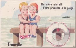 ¤¤  -  11   -   TROUVILLE  -  Carte à Système   -  Baigneur Et Baigneuse - Bouée De Sauvetage  -  ¤¤ - Trouville