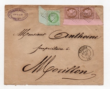 !!! PRIX FIXE : N°53 ET N°58 (x2) GRANDS BORDS DE FEUILLE SUR LETTRE DE 1874 - Marcophilie (Lettres)