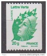 2011-N° 4597** LETTRE VERTE ROULETTE 20 Gr - France