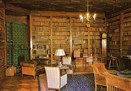 -TCHECOSLOVAQUIE-ORLIK-THE CASTLE LIBRARY-BIBLIOTHEQUE DU CHATEAU -horloge - Bibliothèques