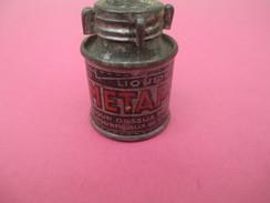 Boite Métallique Ancienne/Petit Flacon/Liquide Pour Dessus De Fourneau De Cuisine/METAPOL/Lion Noir/Vers 1930-50 BFPP123 - Boîtes