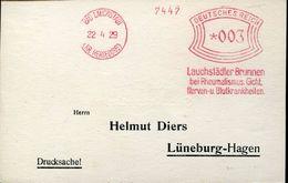 23879 Germany Reich, Circuled Card  Red Meter/freistempel/ema/ Bad Lauchstadt 1929 Lauchstadter Brunnen Rheumatismus - Germany