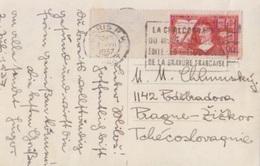 N 341 (sur La Méthode) Obl. Paris Départ Le 2 VII 37, Flamme Flier La Chalcographie ..., CP Musée Du Louvre Pour Prague - Francia