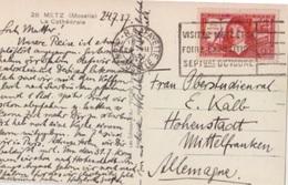 N 342 (de La Méthode) Obl. Metz Lafayette Le 2 VII 37, Flamme Flier Visitez Metz Et Sa Foire ..., Sur CP Pour L'Allemagn - Francia