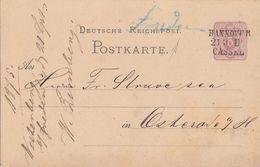 DR Ganzsache Bpst.L3 Hannover - Cassel - Deutschland