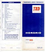HORAIRES TAP Transportes Aereos Portugueses VEREAO 1965 - Timetables