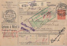 DR Paketkarte Mif Minr.2x 163,2x 174,176,200,2x 204 Leipzig-Plagwitz 23.5.23 Gel. In Schweiz - Deutschland