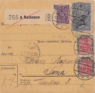 DR Paketkarte Mif Minr.2x 153,176,224 Rathenow 12.8.22 Gel. Nach Jena - Deutschland