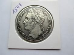 Belgique 5 Francs, 1848 - 1831-1865: Leopold I