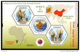 Namibia - 2015 Hong Kong Rhino Elephant Conservation MS (**) - Elephants