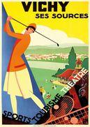 PLM Vichy Ses Sources Sports-tourisme-theatre Golf-tennis 1928 - Postcard - Poster Reproduction - Publicité