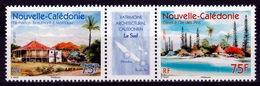 New Caledonia, Architectural Heritage 2017, MNH VF  A Diptych With Label - Nuova Caledonia
