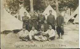 CAMP DE MAISONS LAFFITE - 1909 - Carte Photo - Régiments