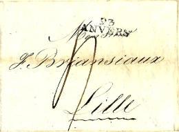 LàC  Antwerpen  12/7/1808  >  Lille   Herlant N° 24 - 1794-1814 (Französische Besatzung)