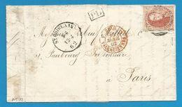 (R196) Belgique - Médaillon N°12 Sur Lettre De HORNU (càd Et P103 De St Ghislain) Vers Paris Du 12/4/1862 - - 1858-1862 Medallones (9/12)