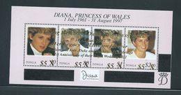 Tonga 2012 Princes Diana Memorial Overprinted & Surcharged Sheet Of 4 X $5 For William & Kate MNH - Tonga (1970-...)