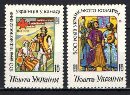 UCRAINA - 1992 - EMIGRAZIONE NEL CANADA E COSACCHI - NUOVI MNH - Ucraina