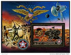 Comoro Islands, Comores, 1976, Bicentennial Of The USA, Space, Viking, MNH, Michel Block 59A - Comores (1975-...)